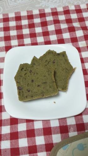 玄米粉の抹茶あずきパウンドケーキ