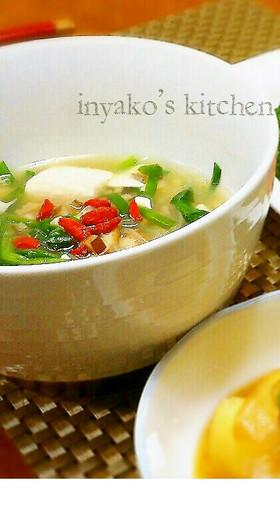 春雨と鶏肉の薬膳スープ