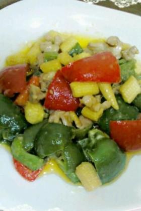 彩野菜とせせりのマヨネーズ炒め