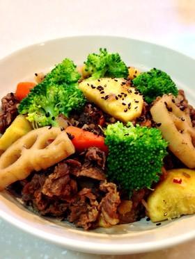 食欲の秋♪根菜と牛肉の甘辛煮