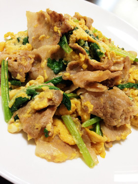 小松菜☆小松菜と豚肉の中華卵とじ