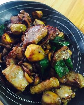栗とキノコ入り 中華風豚の角煮