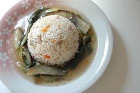 中華風炊き込みご飯のスープあんかけ
