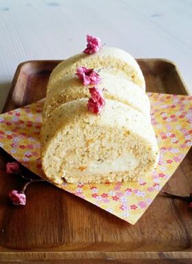 米粉で桜ロールケーキ