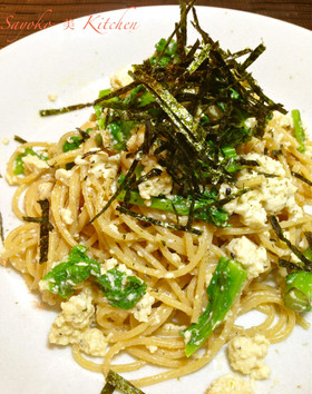 菜の花と豆腐の味噌ガーリックパスタ