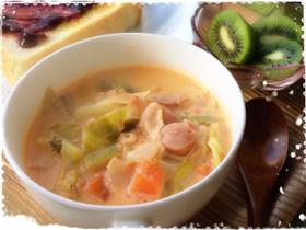 朝食に☆春野菜のクリームミネストローネ