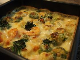 春野菜とシーフードのグラタン