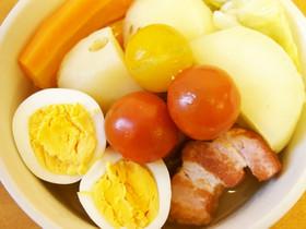 野菜たっぷり!厚切りベーコン&卵のポトフ