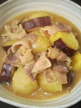 さつまいもとじゃがいもの豚バラ甘味噌煮