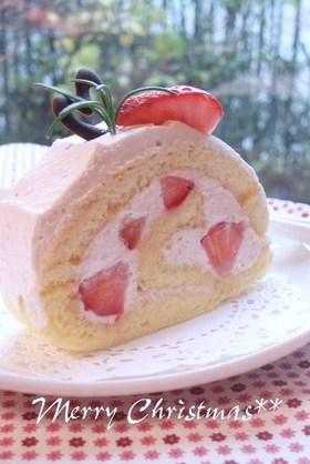 クリスマスに♪ピンク色の苺ロールケーキ