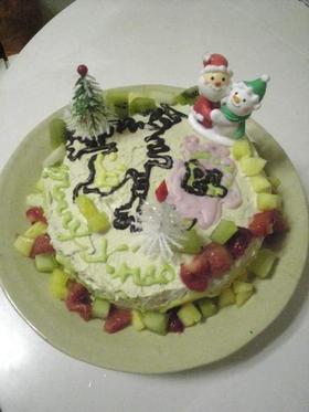 お絵かきデコレーション黒糖ケーキ