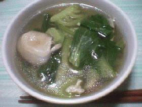 青梗菜と鶏ひき肉のスープ