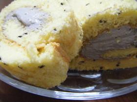黒ゴマ米粉のロールケーキ