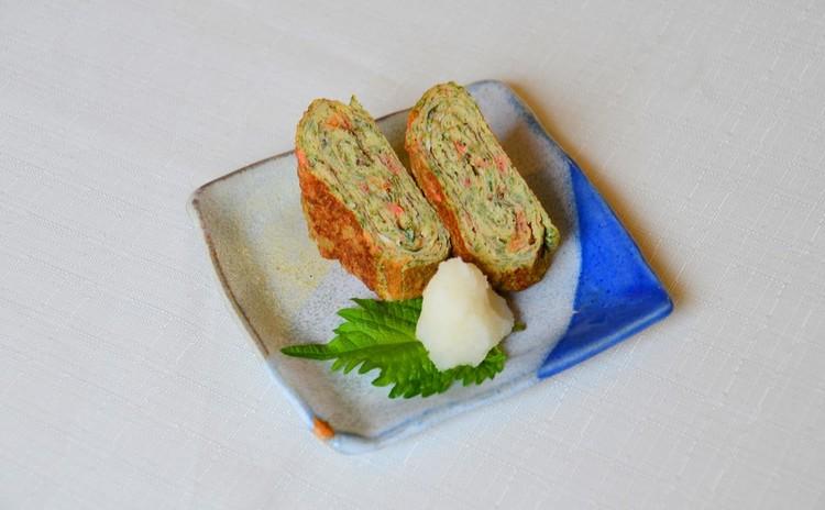 小海老とあおさの巻き焼き卵