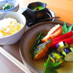夏野菜彩り栄養満点和食!鶏肉と夏野菜揚げ浸し☆とうもろこしご飯☆他2品