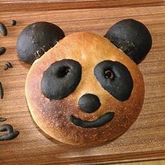 夏休み「親子レッスン」親子で作るパンダのカンパーニュ♥竹炭パウダー使用