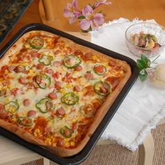 作って、食べて楽しい!香りが食欲増す、生地&ソース手作りピザランチ♬