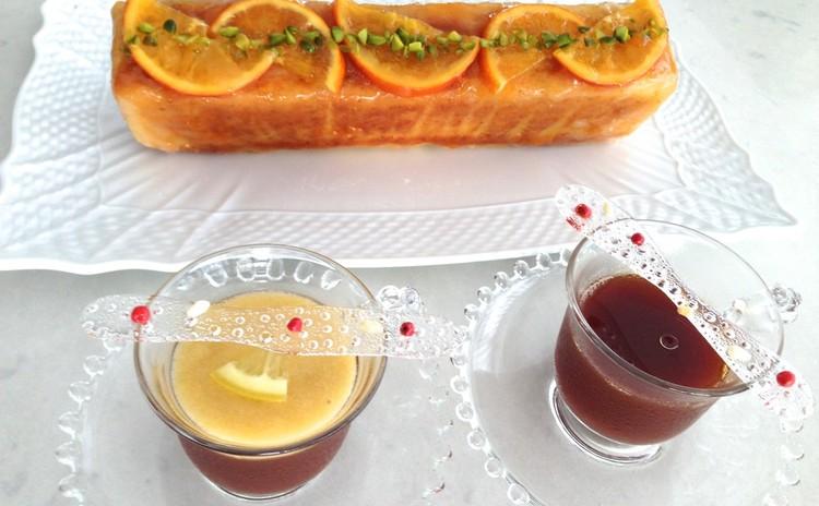 オレンジケーキとひんやりアールグレイのレモンティーゼリー