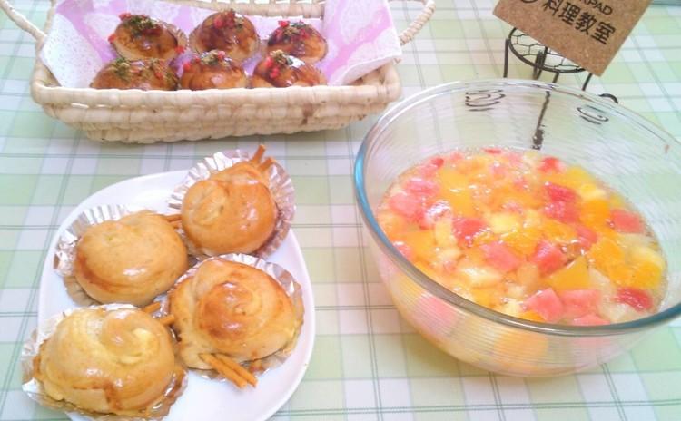 親子で楽しくパン作り。タコ焼きパン&マヨエスカルゴ、フルーツポンチ