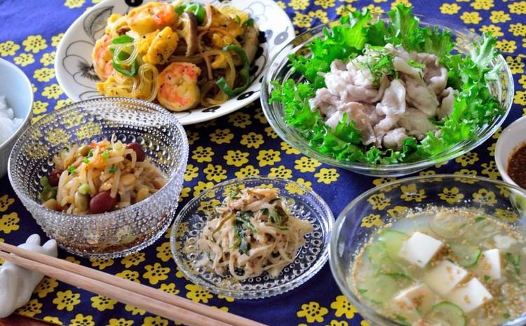 お肉柔らか~豚しゃぶ♡チャプチェやナムルも♡簡単美味しい家庭料理♬
