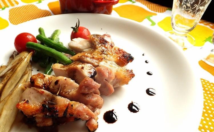【グリルでパリパリ】鶏のバルサミコソース&ズッキーニの夏ポタージュ他