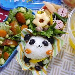 パンダキャラ弁と簡単コーンスープつくり【髪に良いレシピ編】