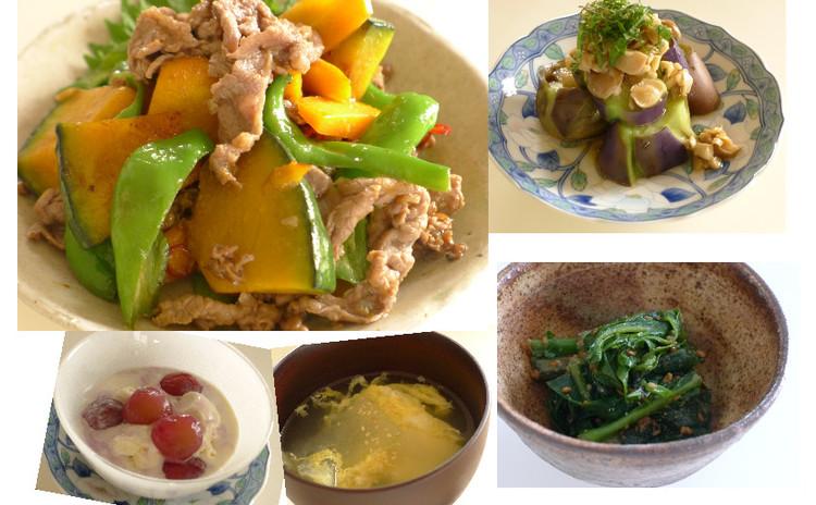 お野菜たっぷり中華!牛肉の甘辛炒め、茄子の中華風サラダ、冬瓜の卵スープ