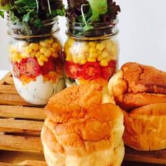 ふわふわパンケーキとメイソンジャーサラダ(メイソンジャー1個付)♪
