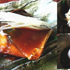 料理屋のふっくら柔らかサバの味噌煮・もっちり蕎麦まんじゅう・柿なます。