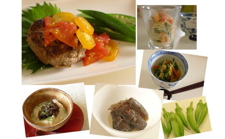 お惣菜メニュー全5品♪ 豆腐ハンバーグ*スパサラ*茄子の胡麻煮など