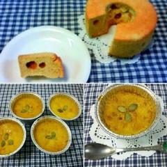 ハロウィンにいかが?  カボチャのシフォンケーキ&絶品カボチャプリン
