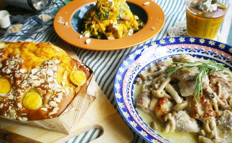 ✿ローズマリー酵母を料理に活用✿コク旨!チキンと茸のミルク煮&他3品♡