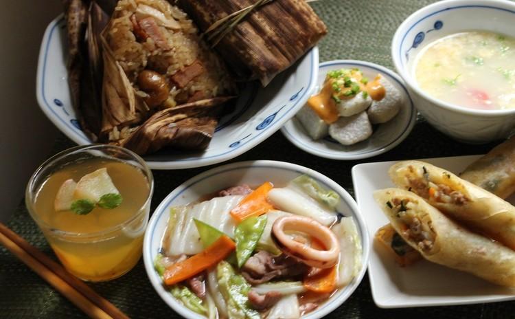 中華の献立を学ぼう②ちまき・春巻き・八宝菜・揚げ里芋
