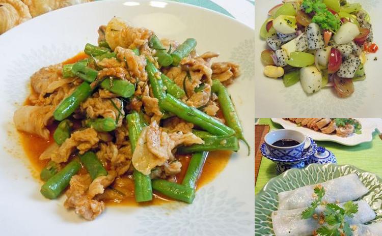 白いご飯にぶっかけタイの屋台人気おかず&秋のフルーツでタイサラダも♪