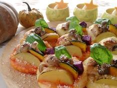 料理レッスン写真 - お野菜たっぷりプチサイズのピザと島カボチャのムース♪お持ち帰り付き