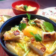 とろ~り照り焼き親子丼❤簡単焼きナス他2品と抹茶パフェの彩り御膳♫