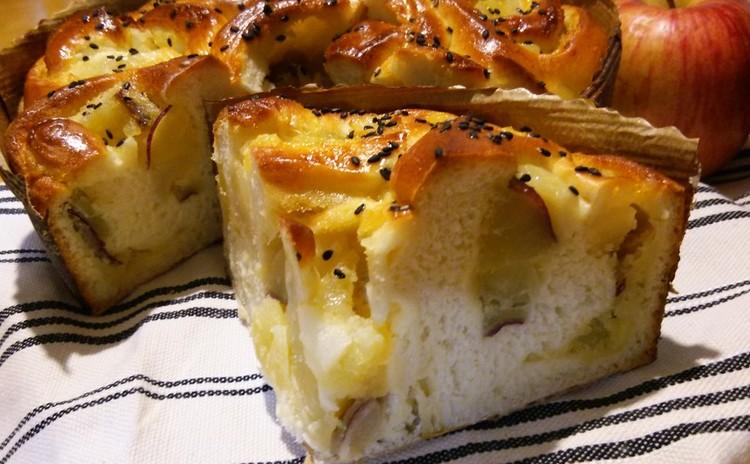 秋の恵みいっぱい!! おさつとりんごのアーモンドロール♪