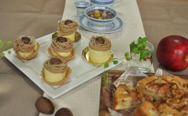 秋の2大スイーツ食べ比べ!本格新栗モンブラン&超簡単りんごケーキ♪