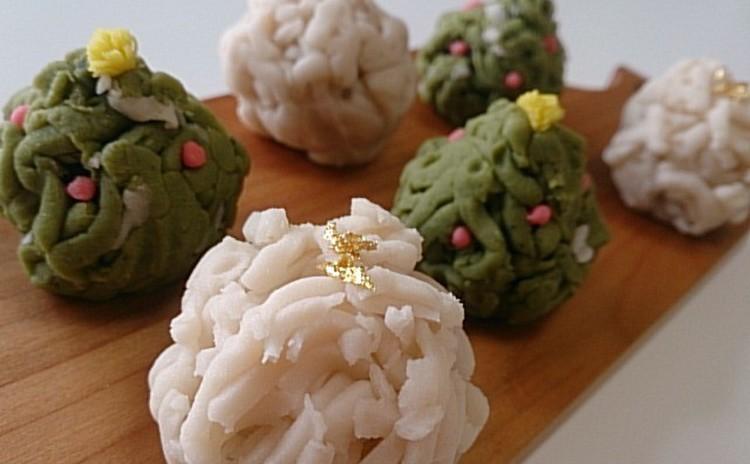 【和菓子】練り切り製きんとんを作り「初雪&モミの木」を作ろう!!