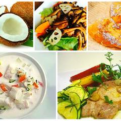 <フィジー思い出の味!手作りココナッツ>と<秋の味覚とデザート>全4品