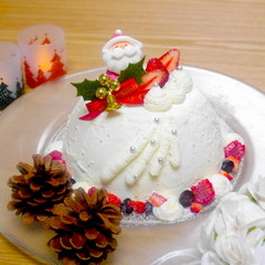 ふわふわジェノワーズで作る☆クリスマススノードーム(15cmホール)☆