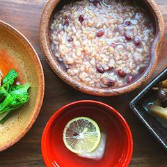 素敵な日本の家庭料理☆玄米ぞうすい♪ひろうず☆旨煮根菜車麩とそばがき汁
