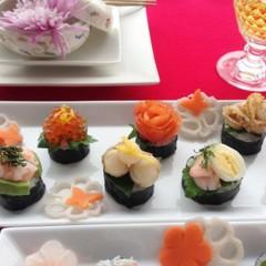 華やかおせち!パリッパリ鯛の鱗揚げ&イタリアン太巻き寿司&飾切りなます