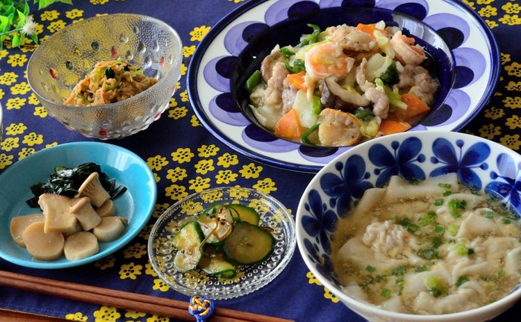 八宝菜をメインに副菜&ワンタンスープも♡簡単おうち中華の献立です♬