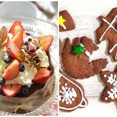 可愛らしいデコレーションクリスマスケーキとアイシングクリスマスクッキー