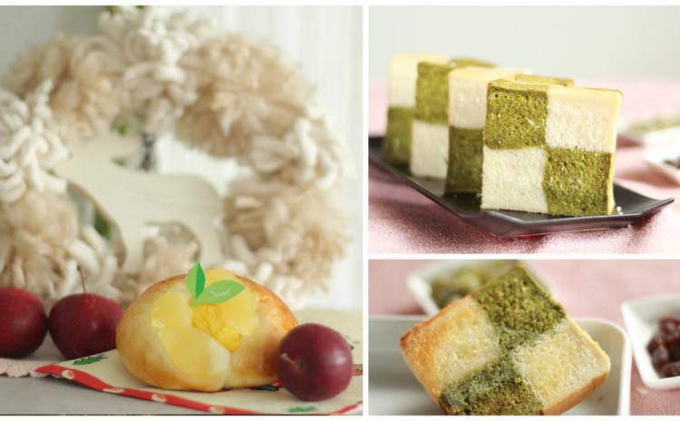 レンチン!カスタード&リンゴパン&抹茶市松ぱん&簡単美味しいコーン煮
