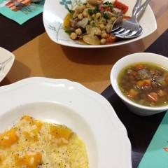ほっこり温かいイタリアン3品!かぼちゃリゾット&レンズ豆のスープ