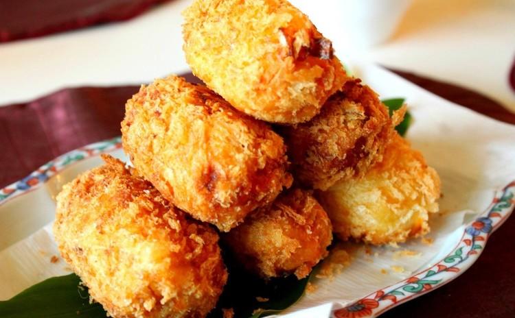 追加根菜ごろっコロッケ&根菜五種と鶏おかずそぼろ♪白玉クリームぜんざい