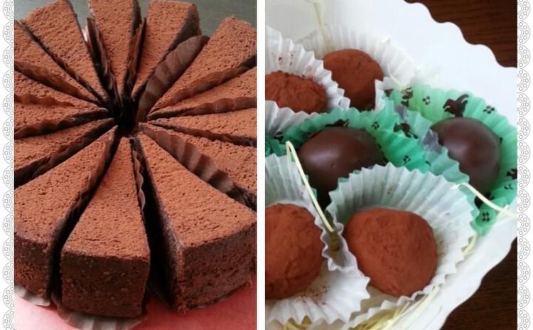 ♡超しっとり生チョコみたいな濃厚ガトーショコラ&とろけるチョコトリュフ