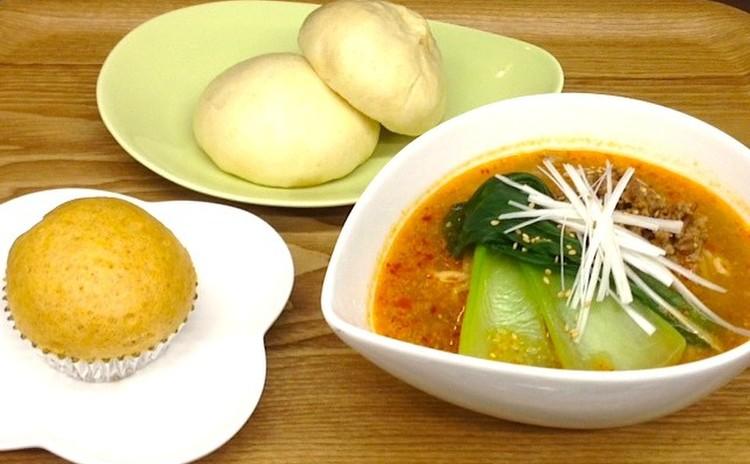 お手軽中華「肉まん&担々麺&マーラーカオ」